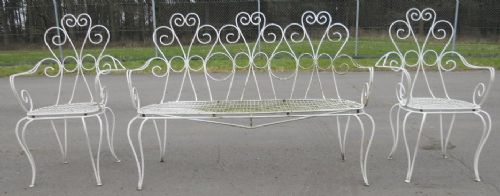 Painted Wire Garden Patio Settee & Matching Pair of Armchairs